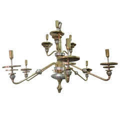 Italian Mid-Century Modern Design Double Level Chandelier in Brass & Nickel