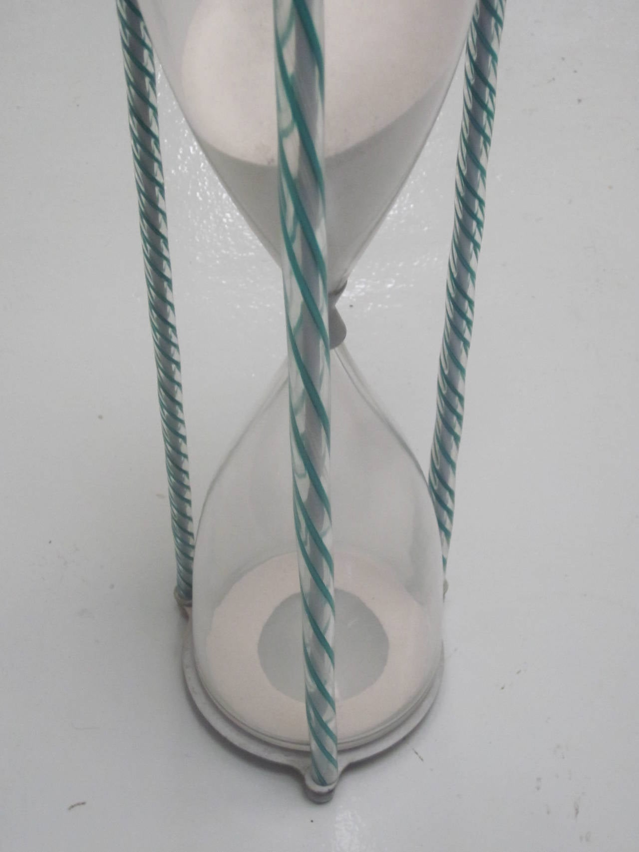 Mid-Century Modern Handblown Murano Glass Hourglass by Paolo Venini For Sale