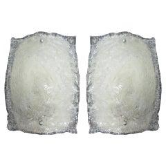 Pair of Italian Mid-Century Modern Cased Murano /Venetian Glass Sconces, Mazzega