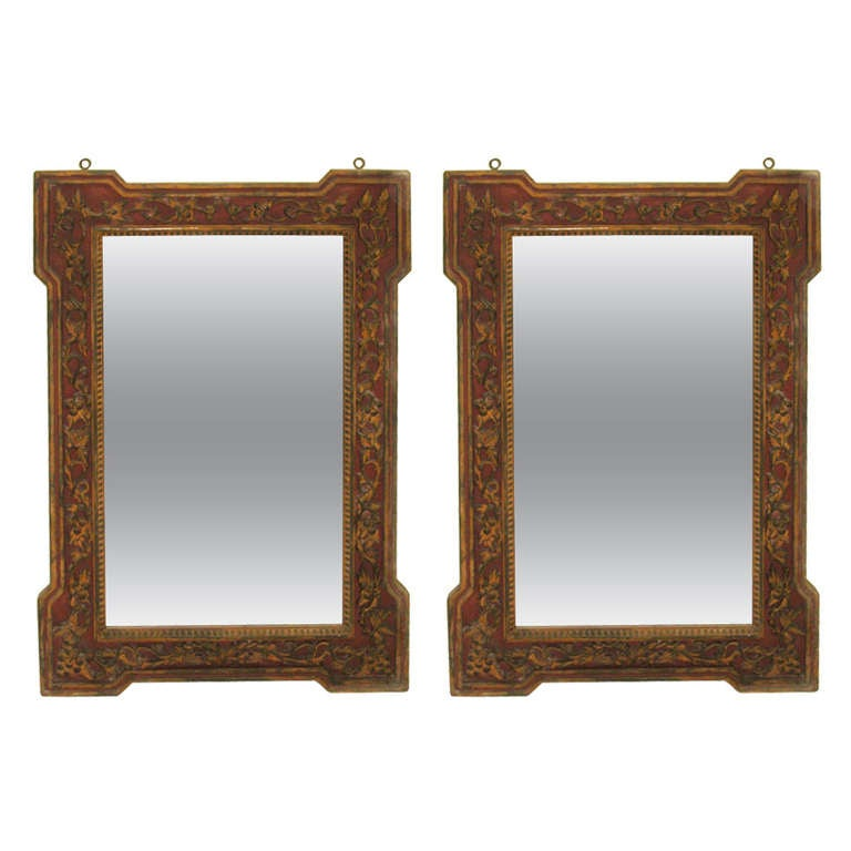 Two Large French Colonial 'Chinese Red' Mirrors, Mid-Century, 1930