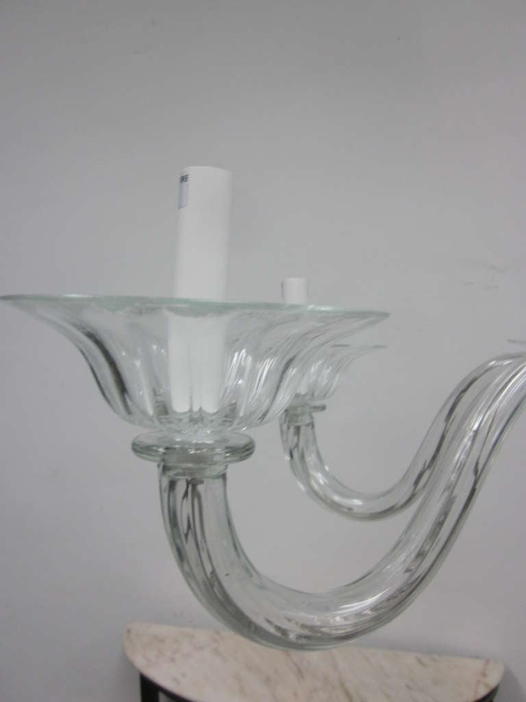 Two Clear Murano Glass Chandeliers Attributed to Venini For Sale 2