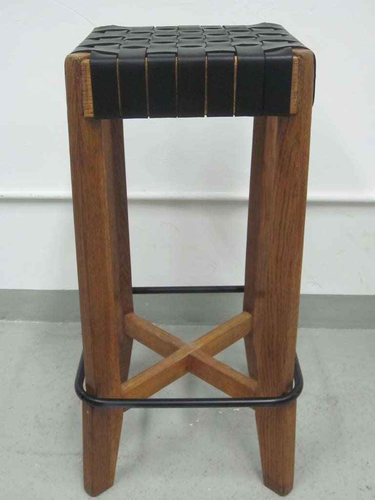 3 French 1940 Bar Stools With Leather Strap Seats At 1stdibs