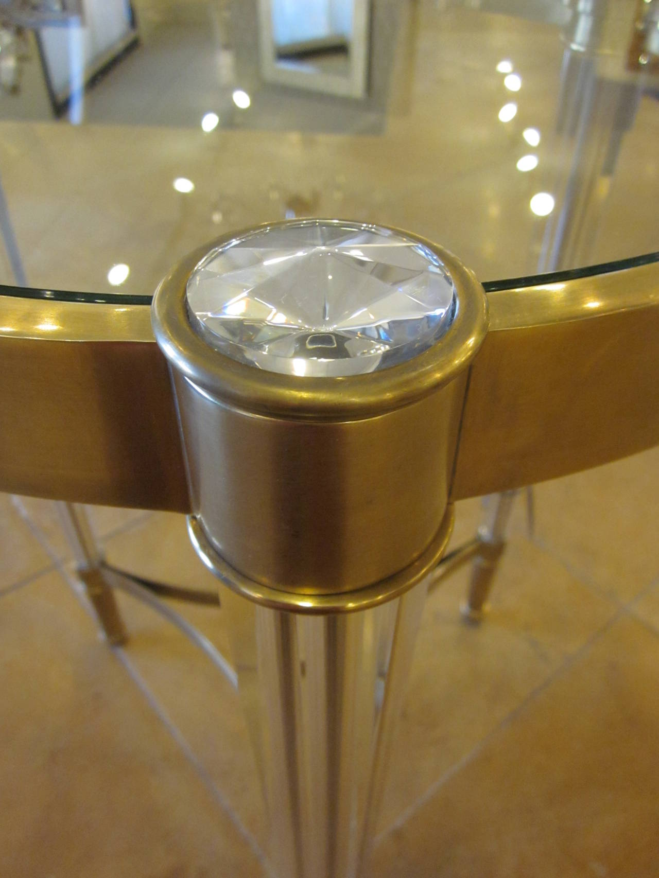 Two Solid Brass and Crystal End Tables in the Style of Fontana Arte 5