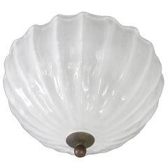 Italian Opalescent Murano Glass Flush Mount or Pendant Attributed to Barovier