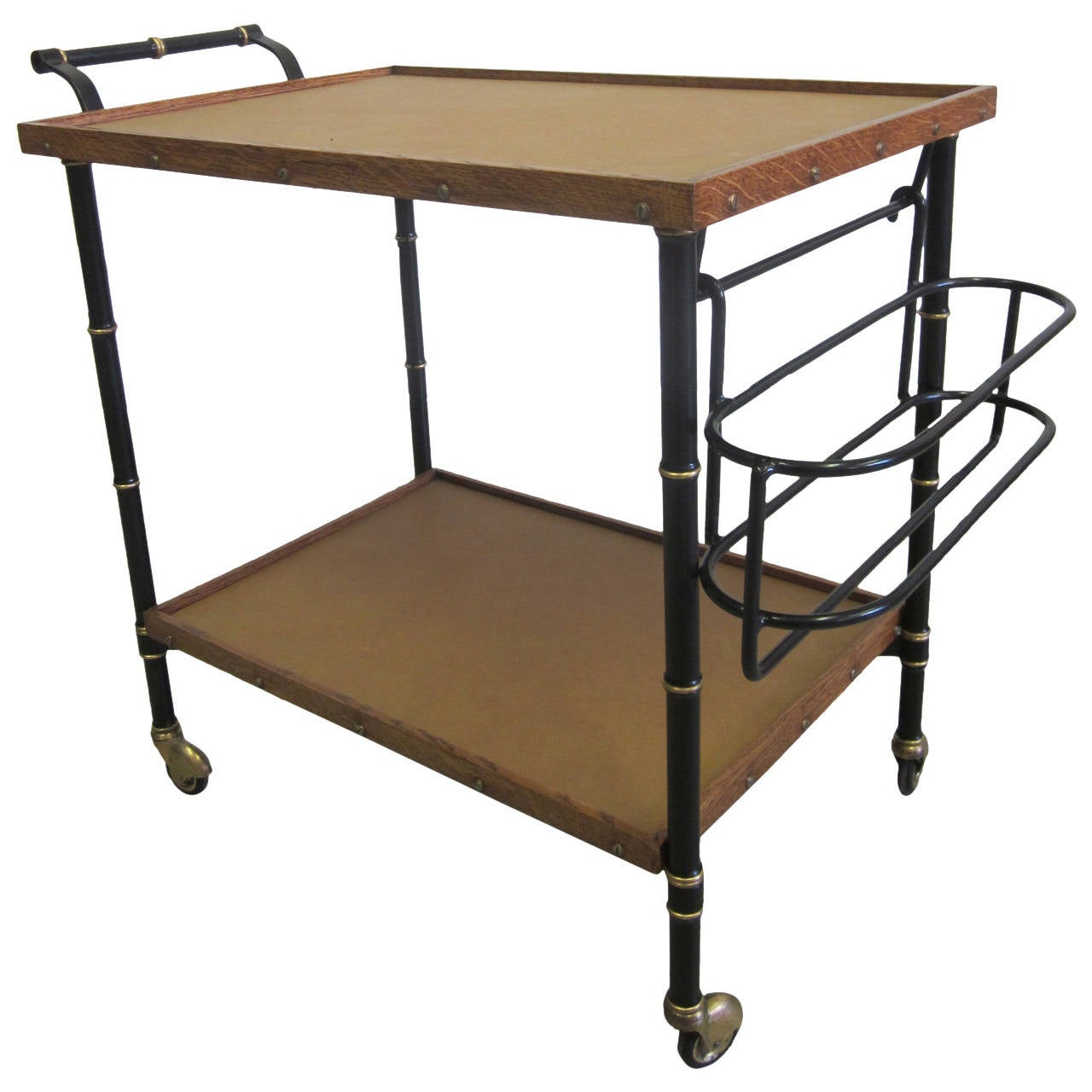 French Mid-Century Modern Leather & Steel Bar Cart/Serving Cart by Jacques Adnet