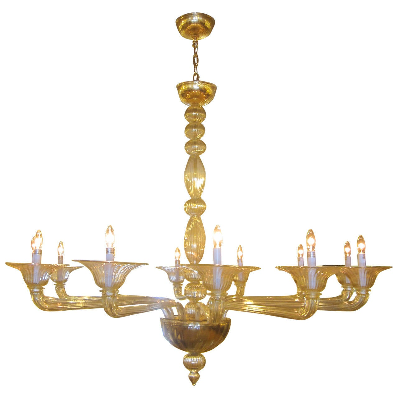 Large Clear Amber Murano / Venetian Glass Chandelier Attributed to Venini For Sale