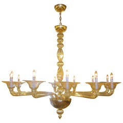 Large Clear Amber Murano / Venetian Glass Chandelier Attributed to Venini
