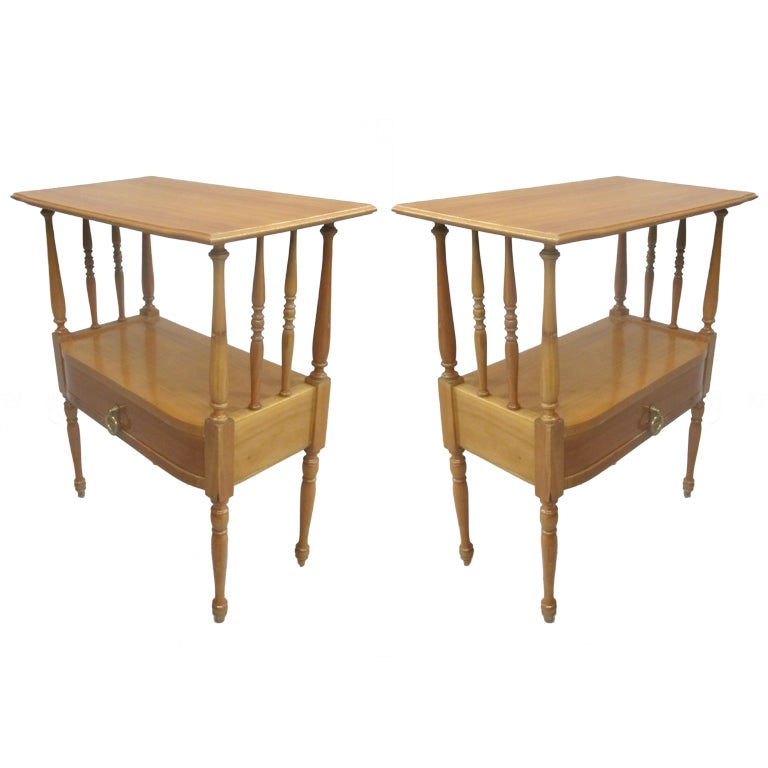 Pair of French Mid-Century Modern Nightstands / End Tables in Andre Arbus Style For Sale