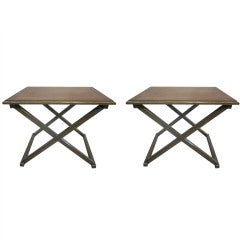 Pair of X Frame End Tables in the Manner of Jean-michel Frank