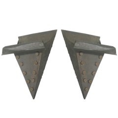 Pair of French Mid-Century Modern / Craftsman / Brutalist Wrought Iron Sconces
