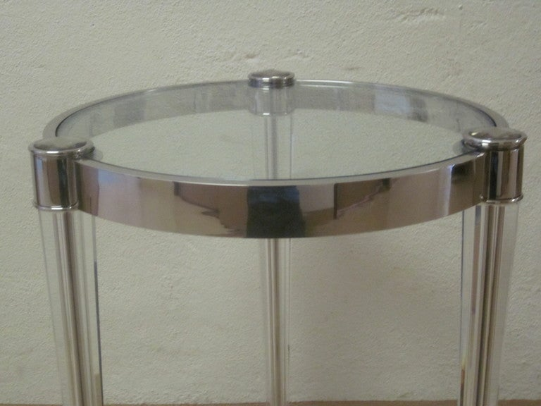 Two Extraordinary Solid Crystal and Nickel Side Tables in Style of Fontana Arte 7