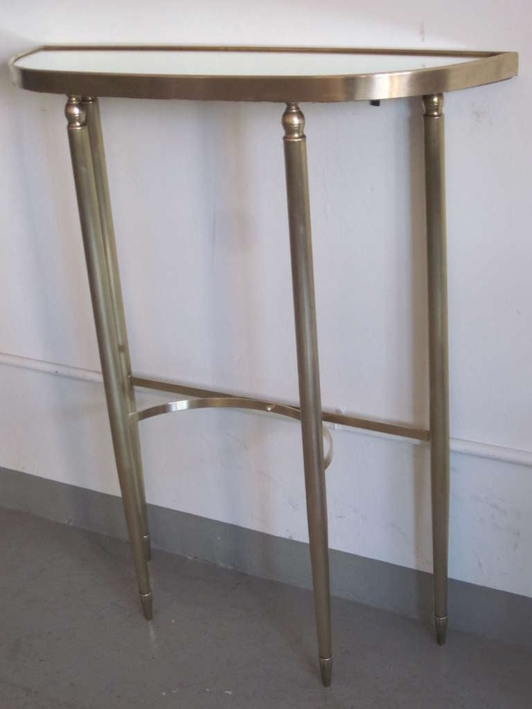 Mid-20th Century Italian Mid-Century Modern Neoclassical Brass Console by Guglielmo Ulrich, 1950 For Sale