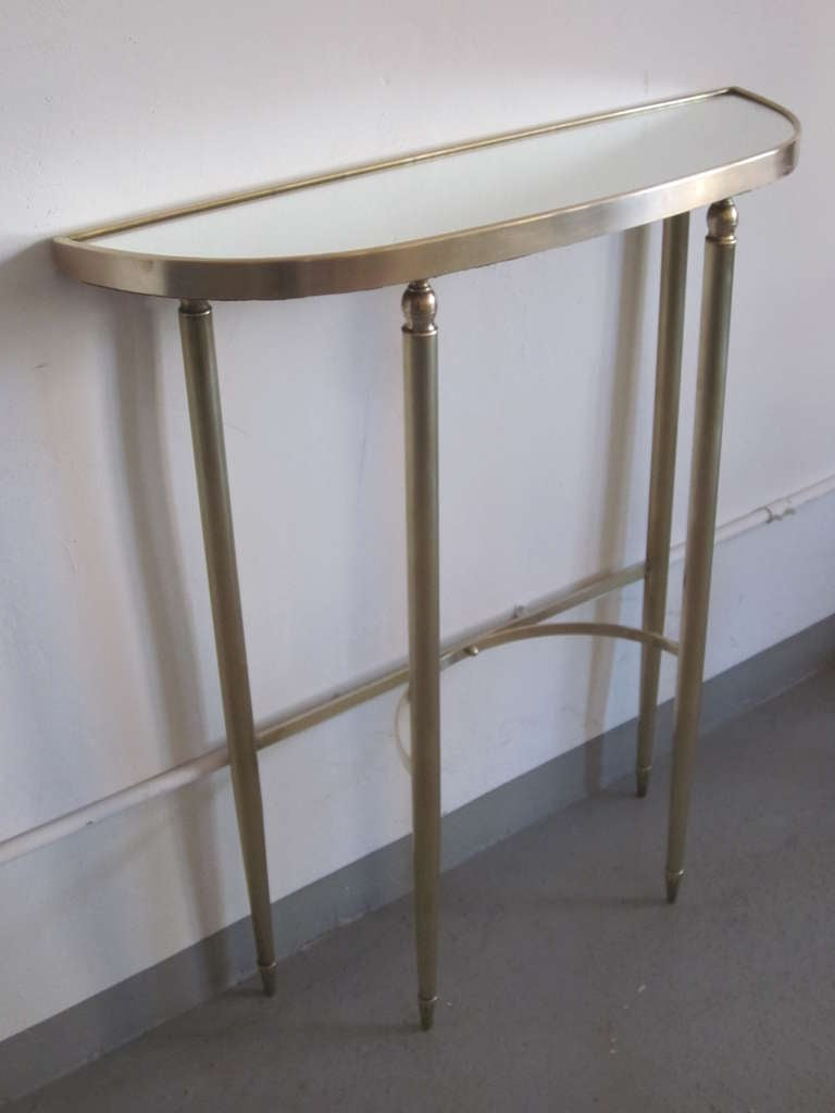 Italian Mid-Century Modern Neoclassical Brass Console by Guglielmo Ulrich, 1950 In Good Condition For Sale In New York, NY