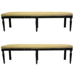 Two Large French Carved Wood Modern Neoclassical Benches