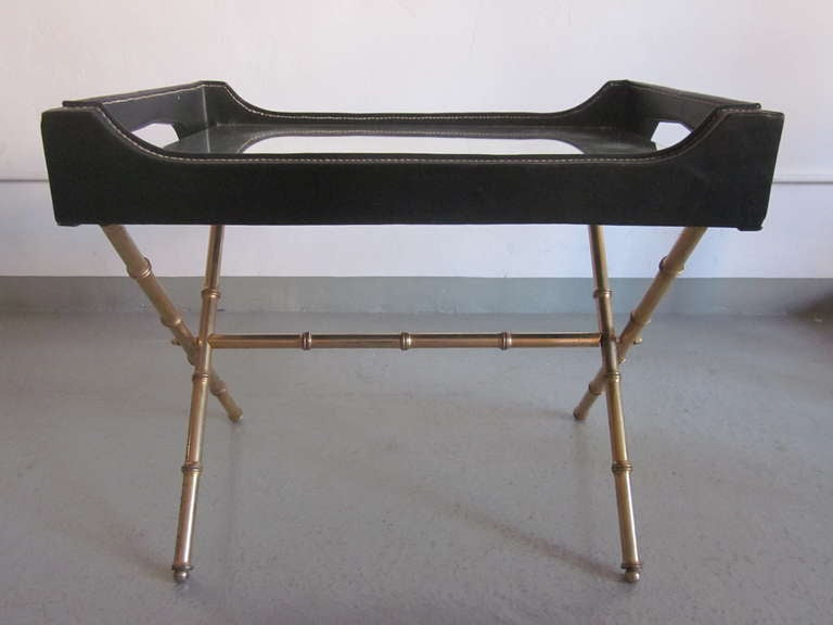 Rare Faux Bamboo And Leather Cocktail Table By Jacques Adnet At