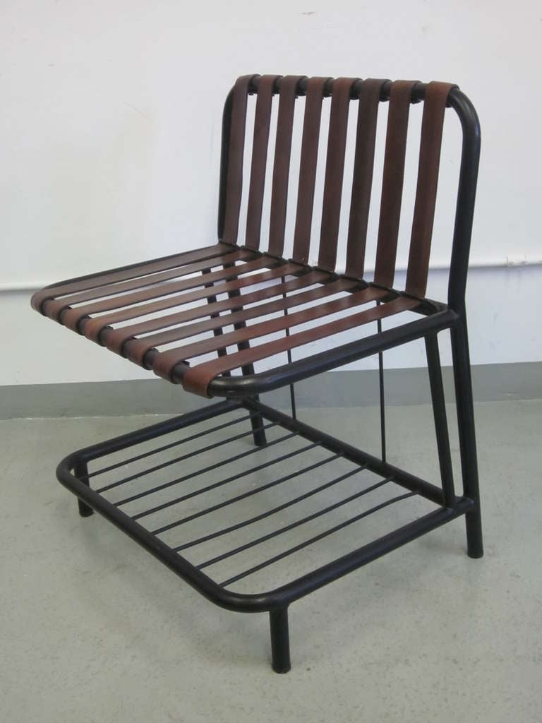 Mid-20th Century Four French Mid-Century Modern Leather Strap Chairs Attributed to Jacques Adnet For Sale