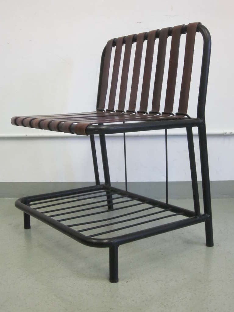 Four French Mid-Century Modern Leather Strap Chairs Attributed to Jacques Adnet For Sale 1
