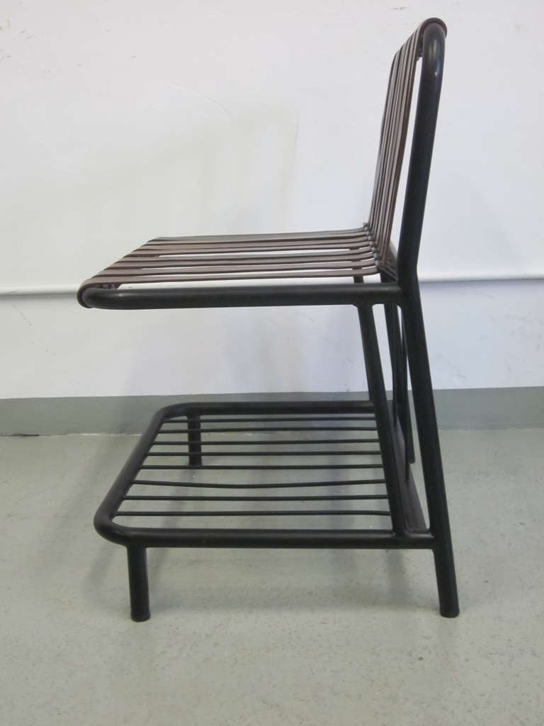 Four French Mid-Century Modern Leather Strap Chairs Attributed to Jacques Adnet For Sale 2
