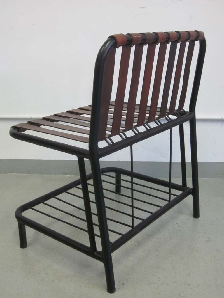 Four French Mid-Century Modern Leather Strap Chairs Attributed to Jacques Adnet For Sale 3