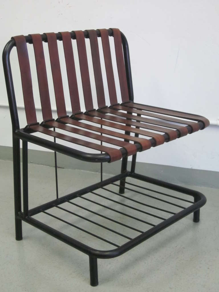 Four French Mid-Century Modern Leather Strap Chairs Attributed to Jacques Adnet In Good Condition For Sale In New York, NY