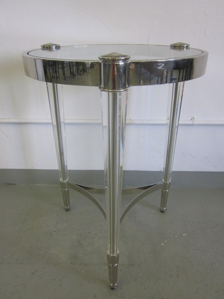 2 Italian Mid-Century Modern Style Solid Crystal & Nickel Side Tables, Baccarat In Excellent Condition For Sale In New York, NY