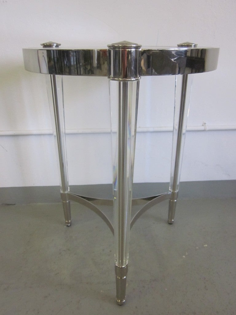 20th Century 2 Italian Mid-Century Modern Style Solid Crystal & Nickel Side Tables, Baccarat For Sale