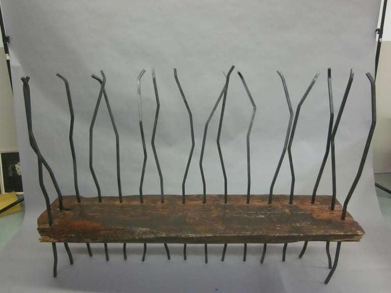 Mid-Century Modern Hand Made Italian Modern Brutalist Bench / Sofa in the Spirit of Andrea Branzi For Sale