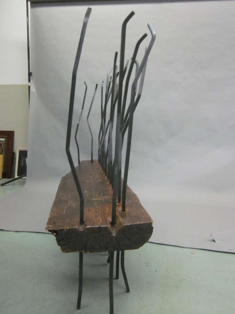 Iron Hand Made Italian Modern Brutalist Bench / Sofa in the Spirit of Andrea Branzi For Sale