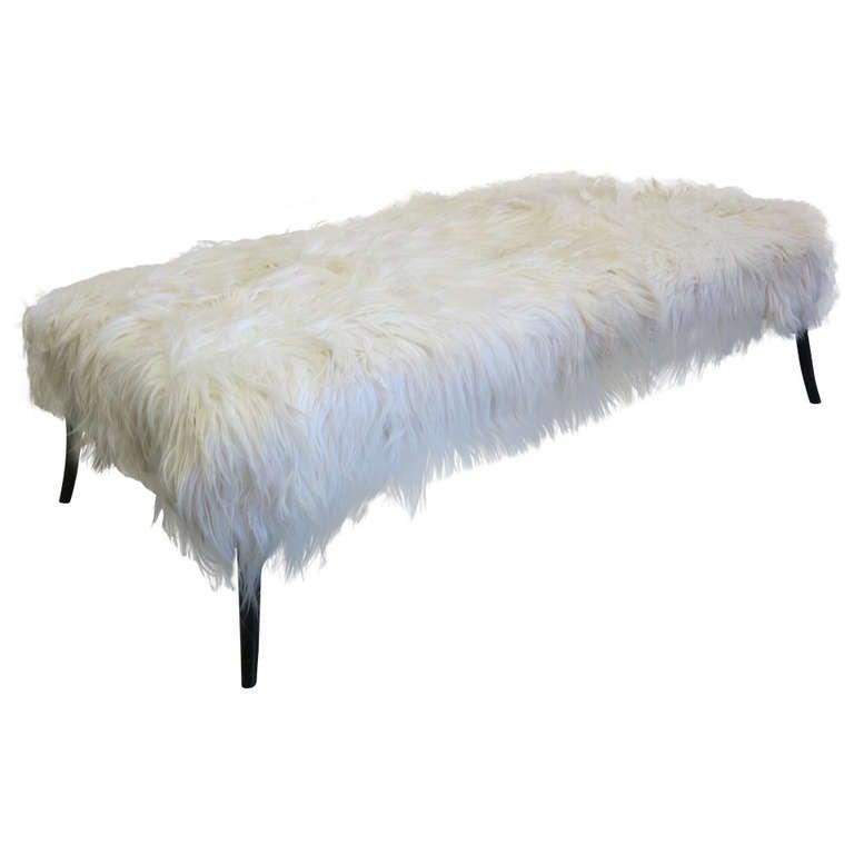 Large Long Hair Goatskin Bench