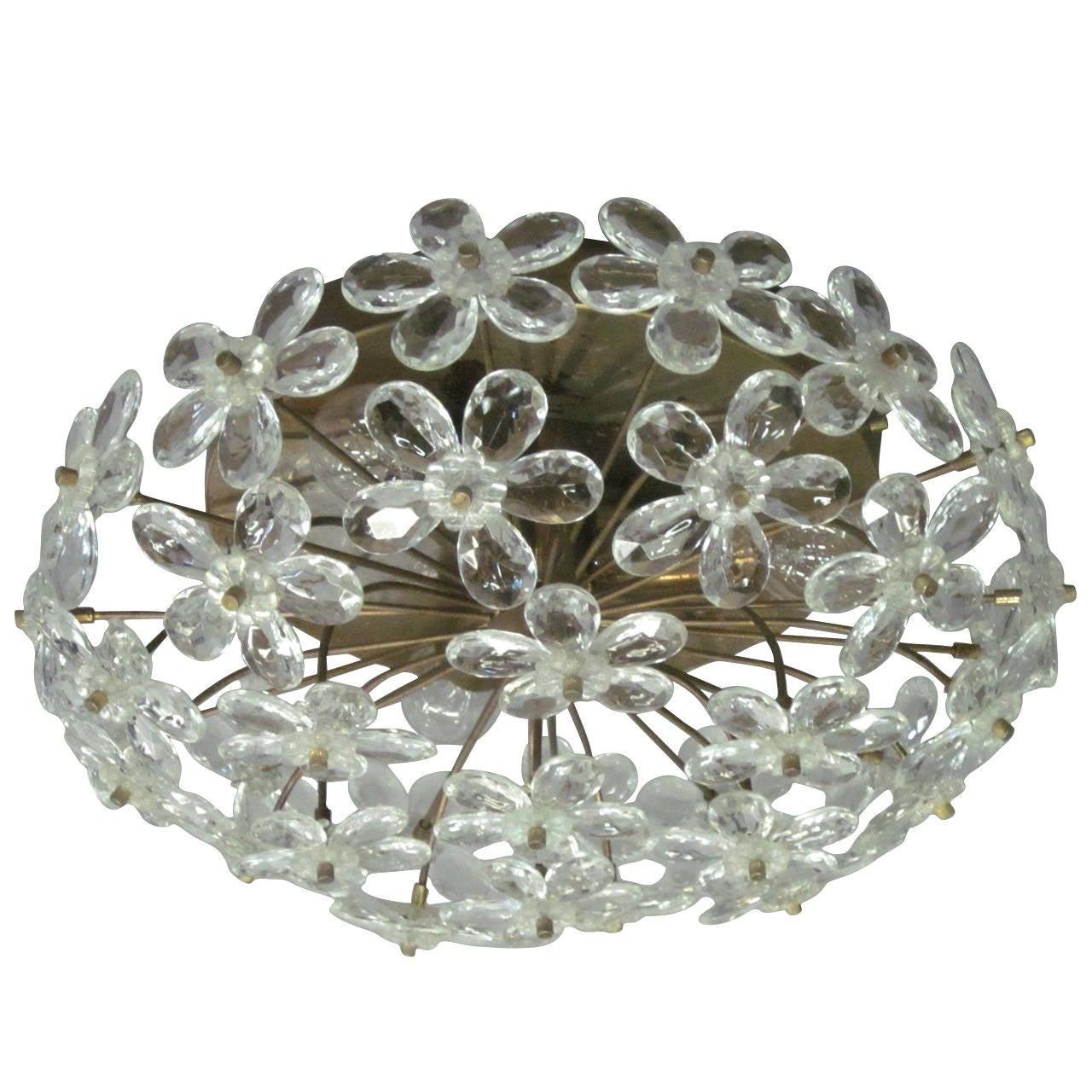 3 Italian Mid-Century Modern Murano Glass / Crystal Floral Flush Mount Fixtures