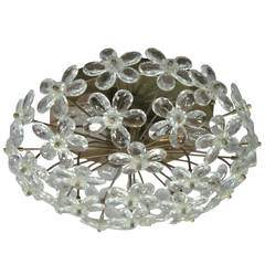 3 Italian Mid-Century Modern Murano Glass / Crystal Floral Flush Mount Fixtures