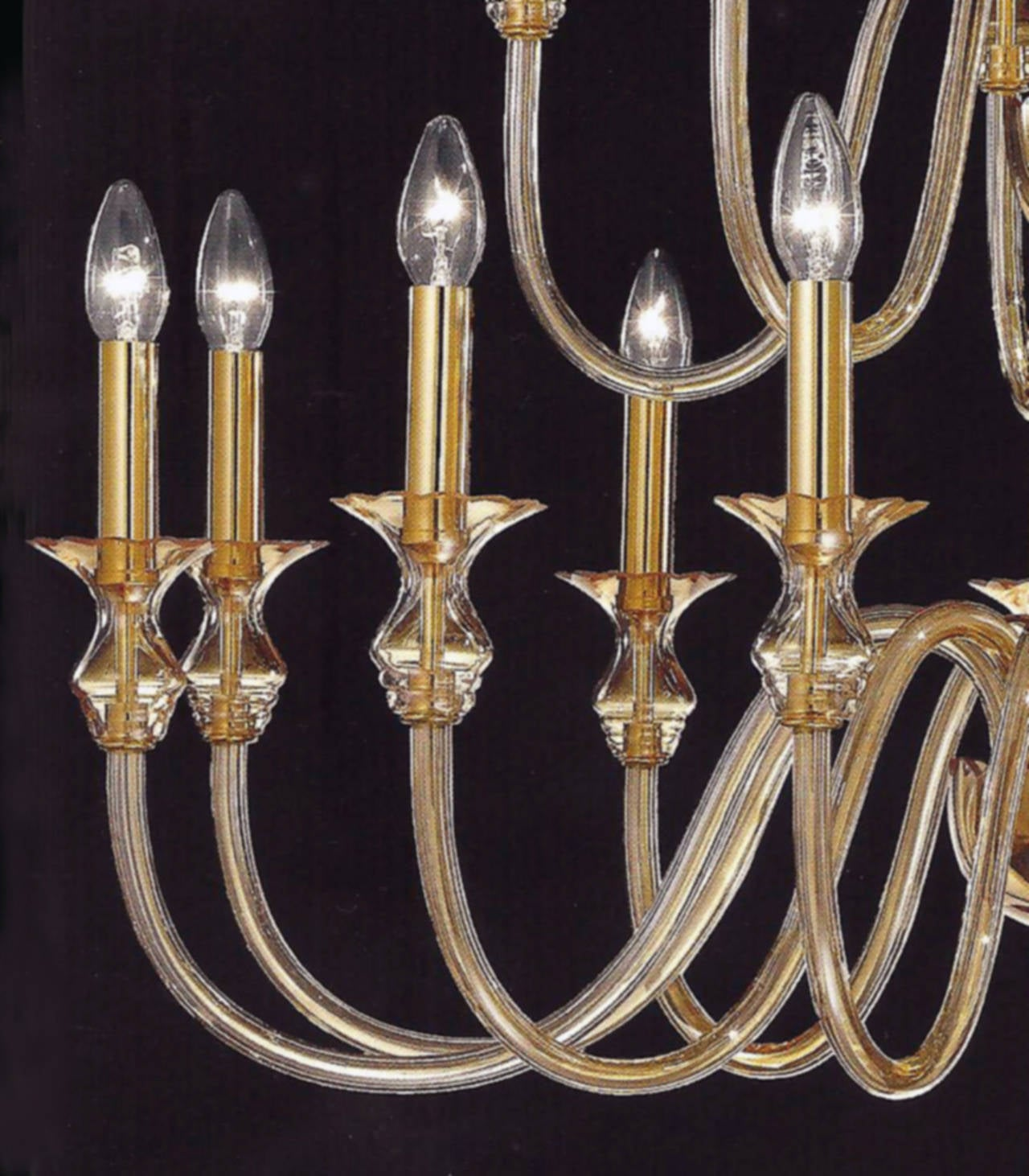 2 Mid-Century Modern Neoclassical Murano /Venetian Glass Double Tier Chandeliers For Sale 1