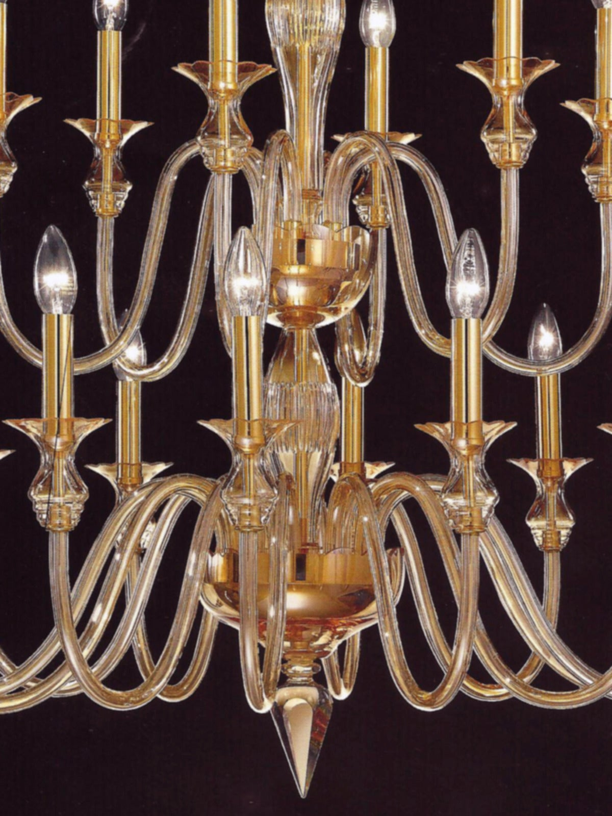 Italian 2 Mid-Century Modern Neoclassical Murano /Venetian Glass Double Tier Chandeliers For Sale