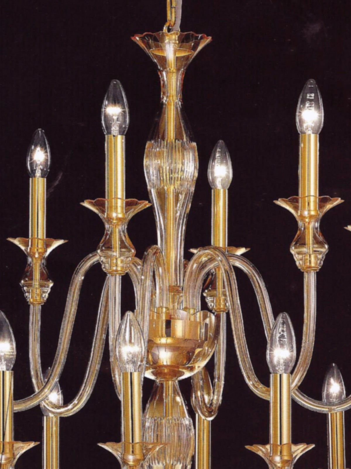 20th Century 2 Mid-Century Modern Neoclassical Murano /Venetian Glass Double Tier Chandeliers For Sale