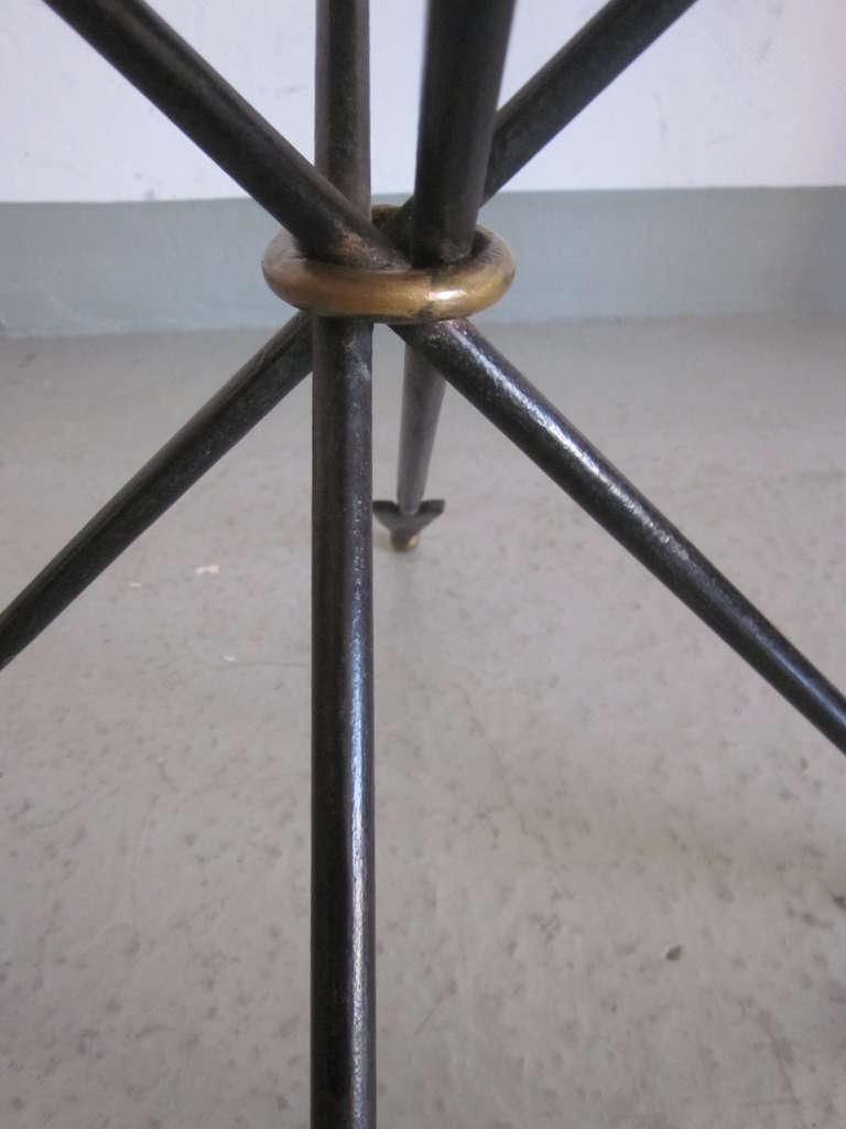 Iron Pair of French 1940s Style Modern Neoclassical Gueridons / Side Tables For Sale