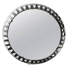 Italian Mid-Century Modern Neoclassical Round Bronze Mirror, Fontana Arte