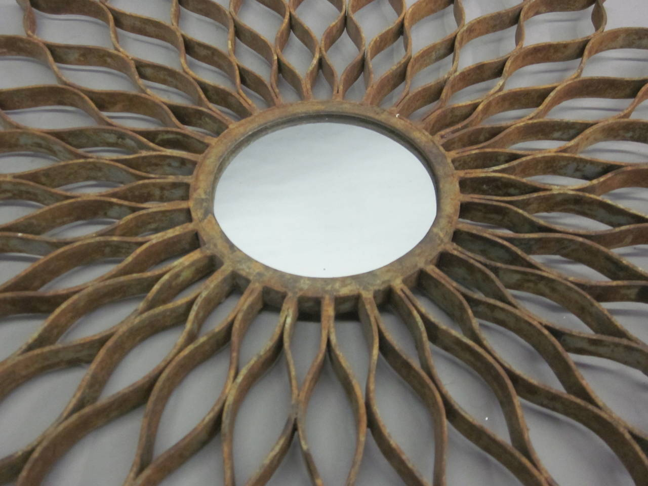 French 1930s Hand-Wrought Iron Sun Mirror by Raymond Subes 5