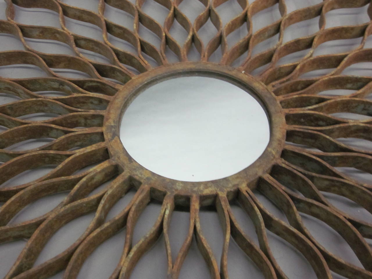 French 1930s Hand-Wrought Iron Sun Mirror by Raymond Subes 6