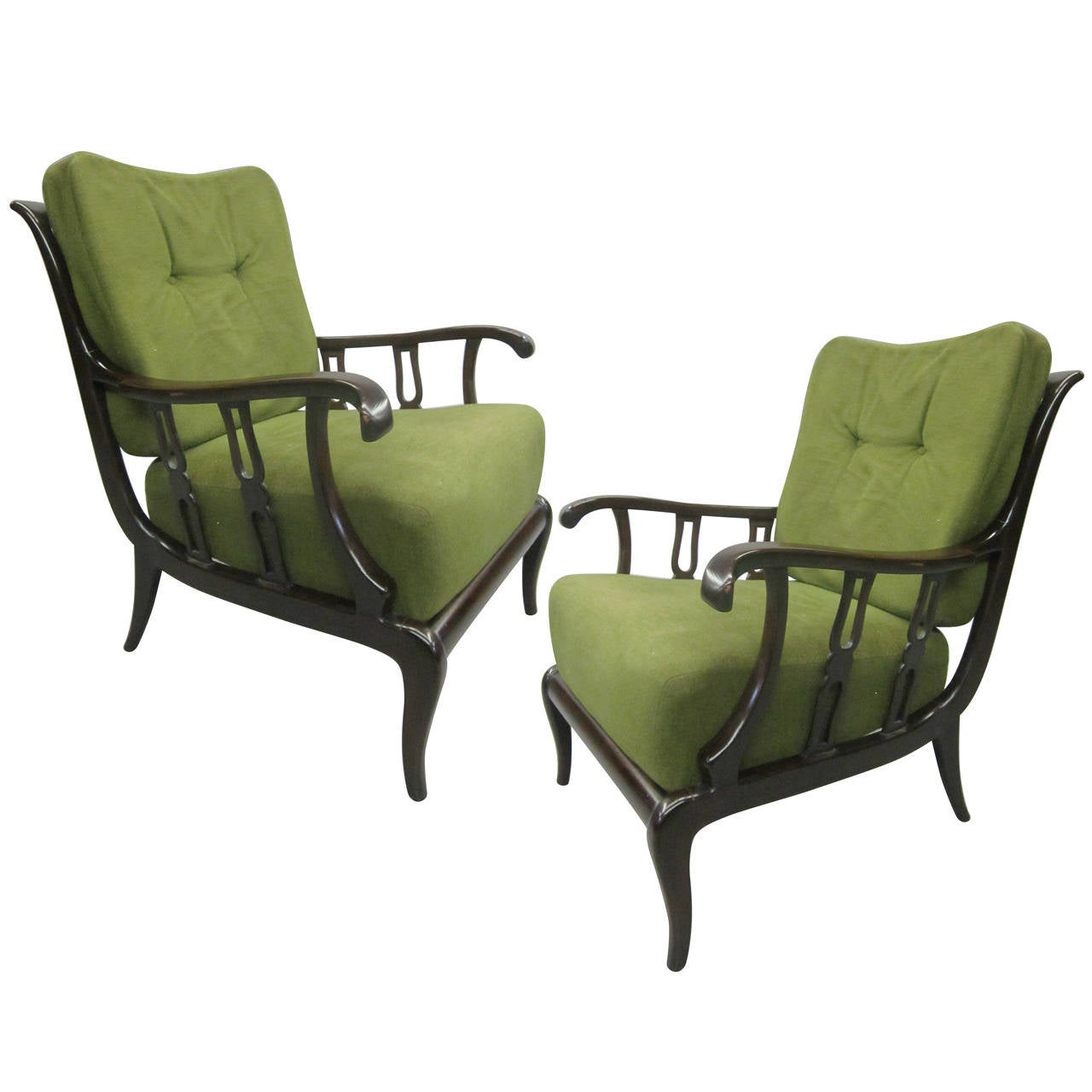 Pair of Italian Mid-Century Modern Neoclassical Lounge Chairs by Paolo Buffa For Sale