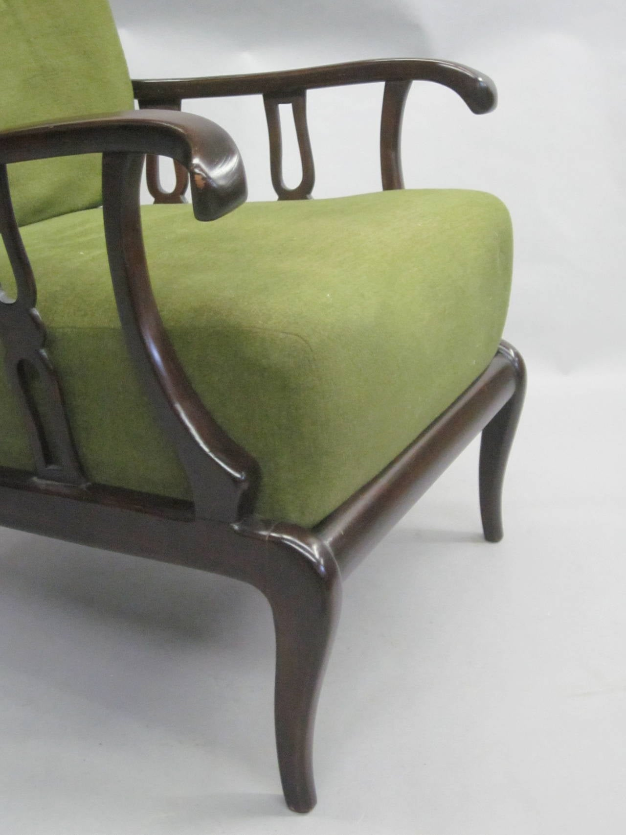 Pair of Italian Mid-Century Modern Neoclassical Lounge Chairs by Paolo Buffa For Sale 6