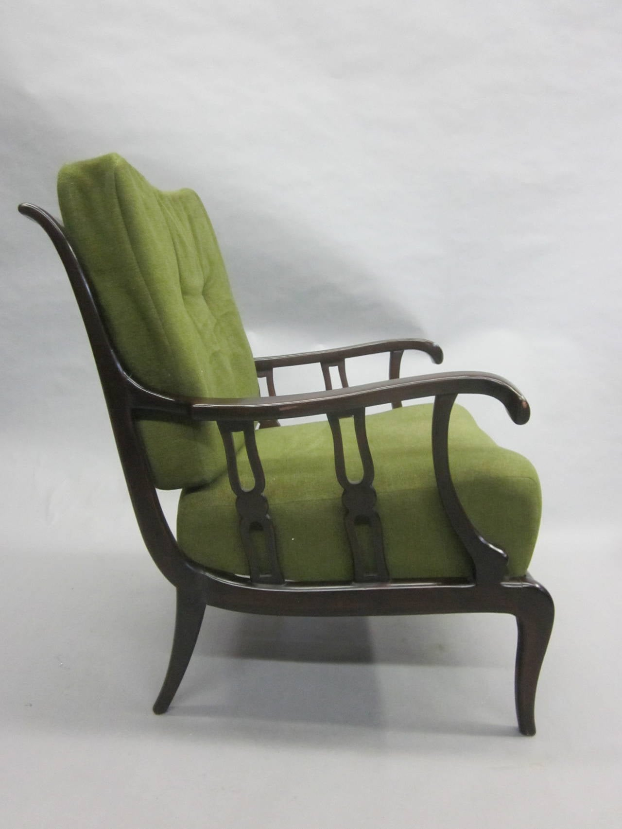 Pair of Italian Mid-Century Modern Neoclassical Lounge Chairs by Paolo Buffa In Good Condition For Sale In New York, NY
