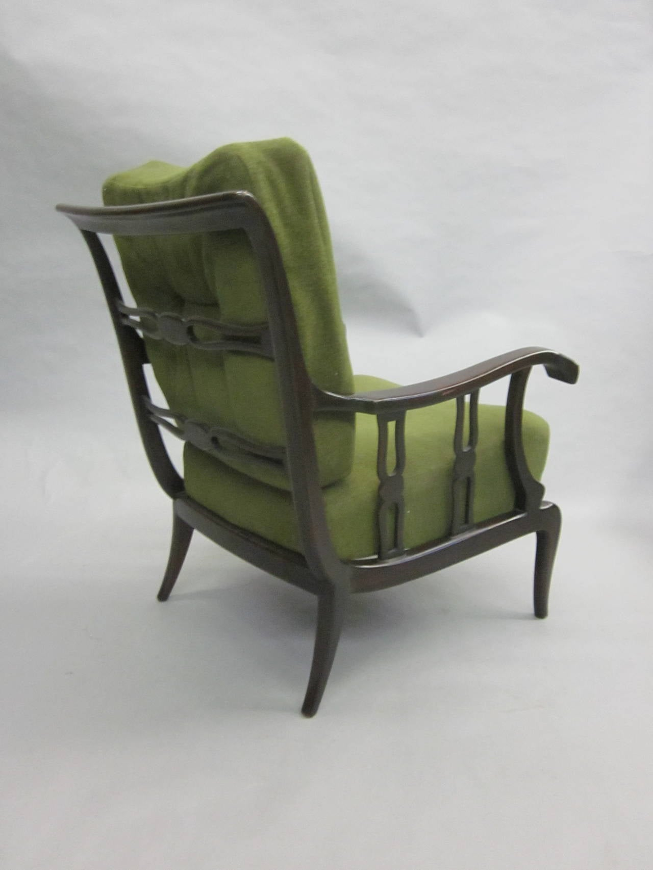 Mid-20th Century Pair of Italian Mid-Century Modern Neoclassical Lounge Chairs by Paolo Buffa For Sale
