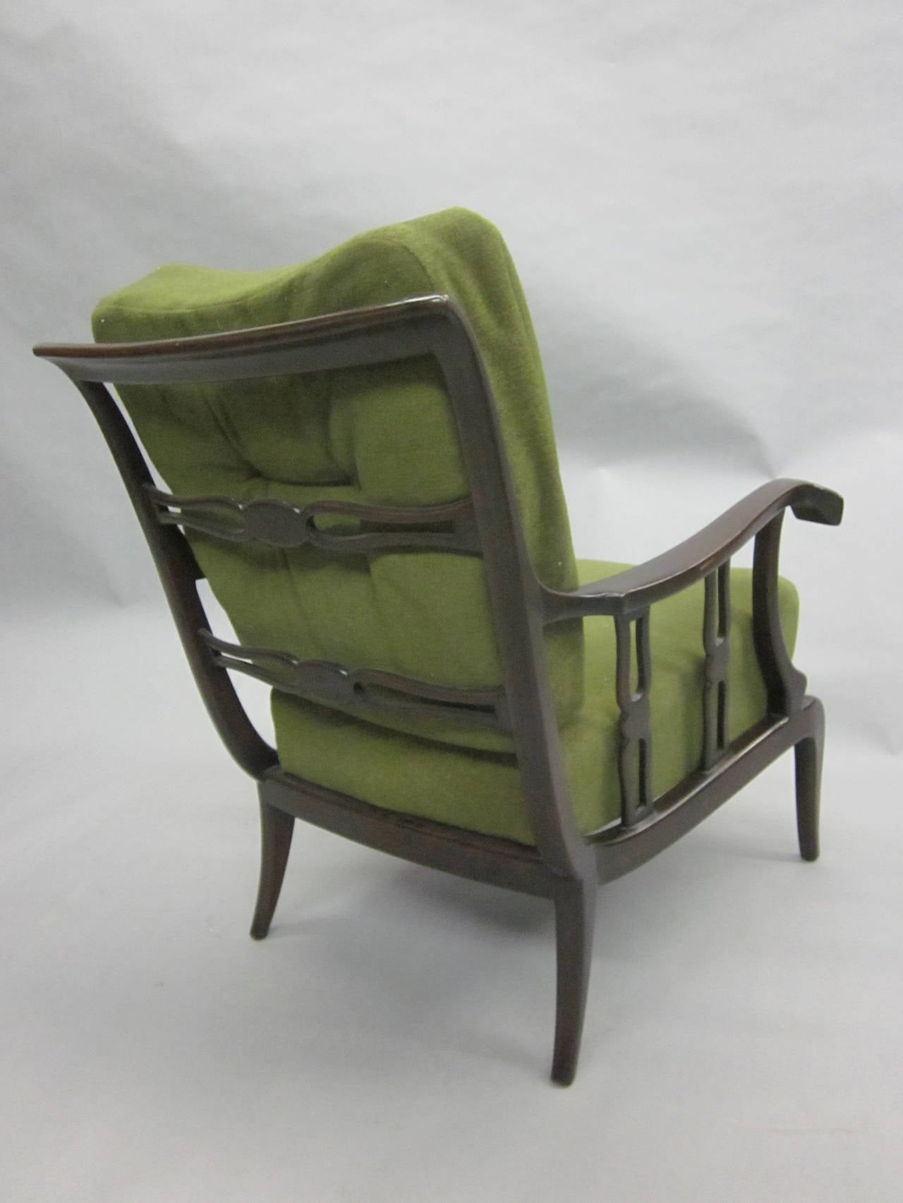 Pair of Italian Mid-Century Modern Neoclassical Lounge Chairs by Paolo Buffa For Sale 1