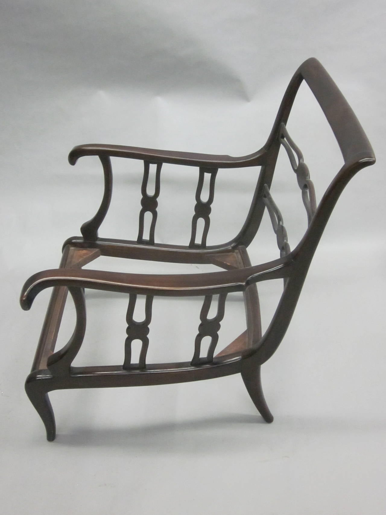 Pair of Italian Mid-Century Modern Neoclassical Lounge Chairs by Paolo Buffa For Sale 5