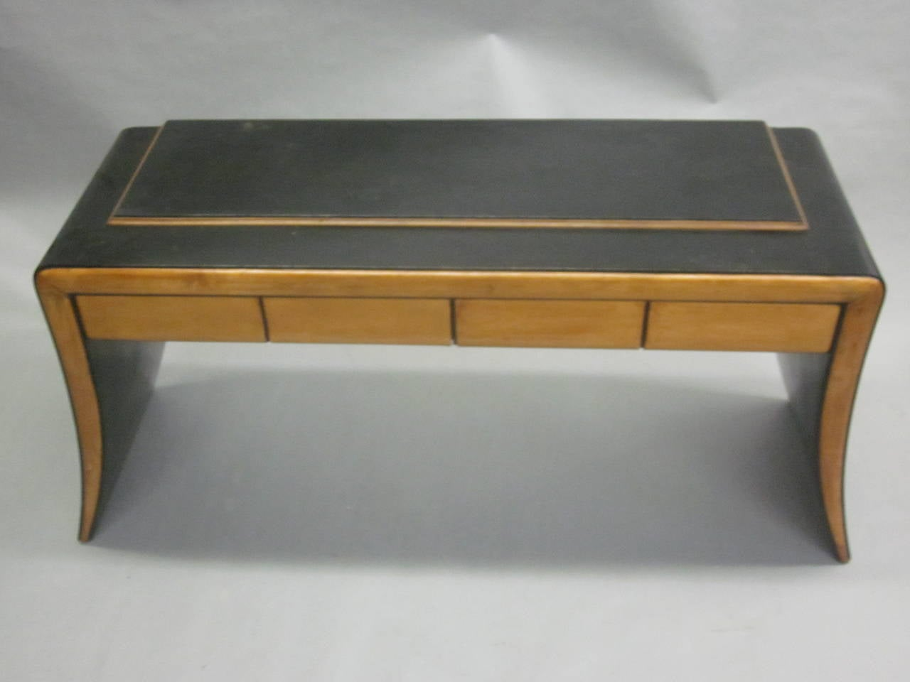 Italian late Art Deco / modern neoclassical vanity / sofa table or console by Paolo Buffa in light and ebonized woods. 