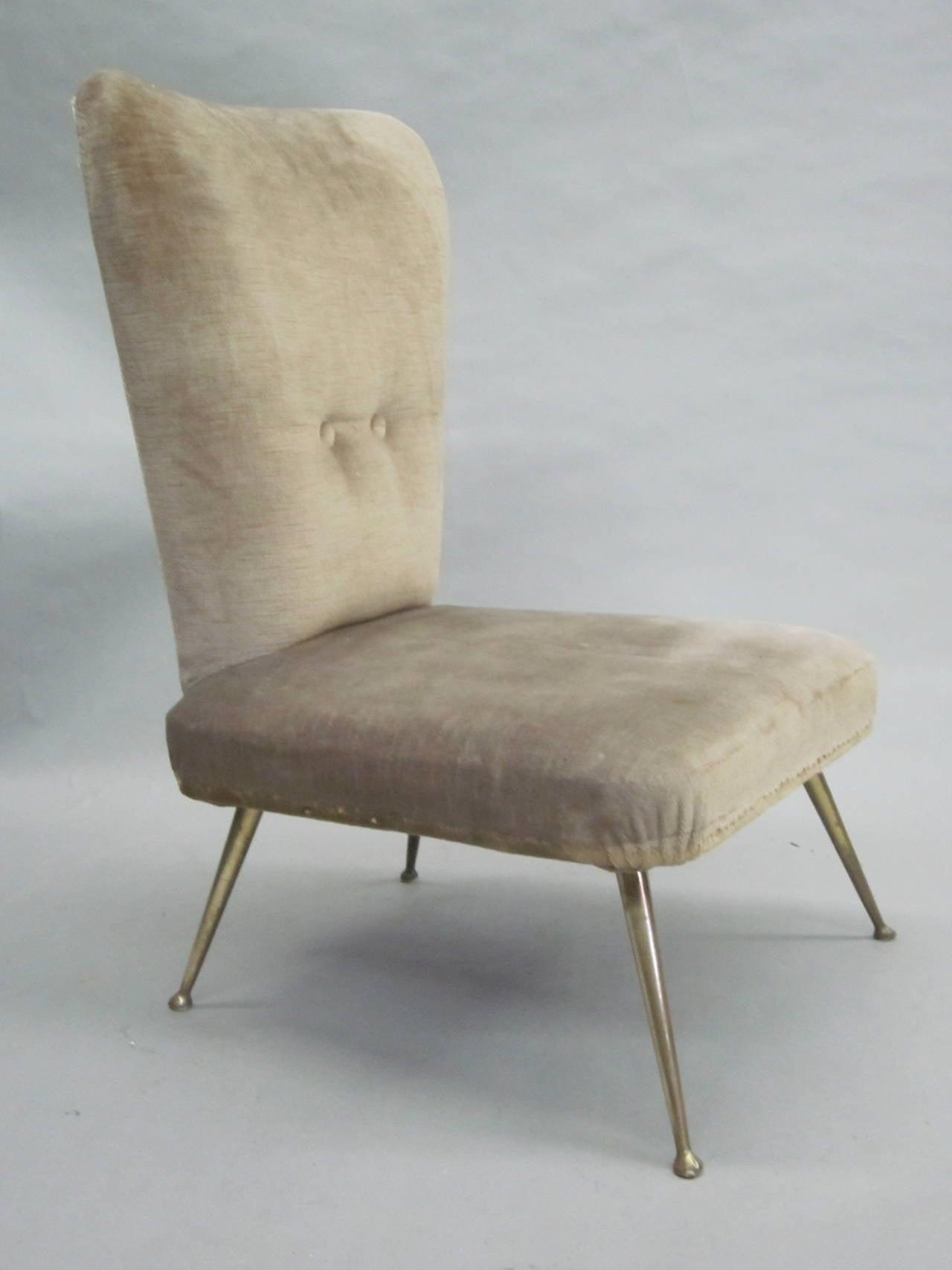 Pair of Italian Mid-Century Slipper Chairs Attributed to Marco Zanuso 2