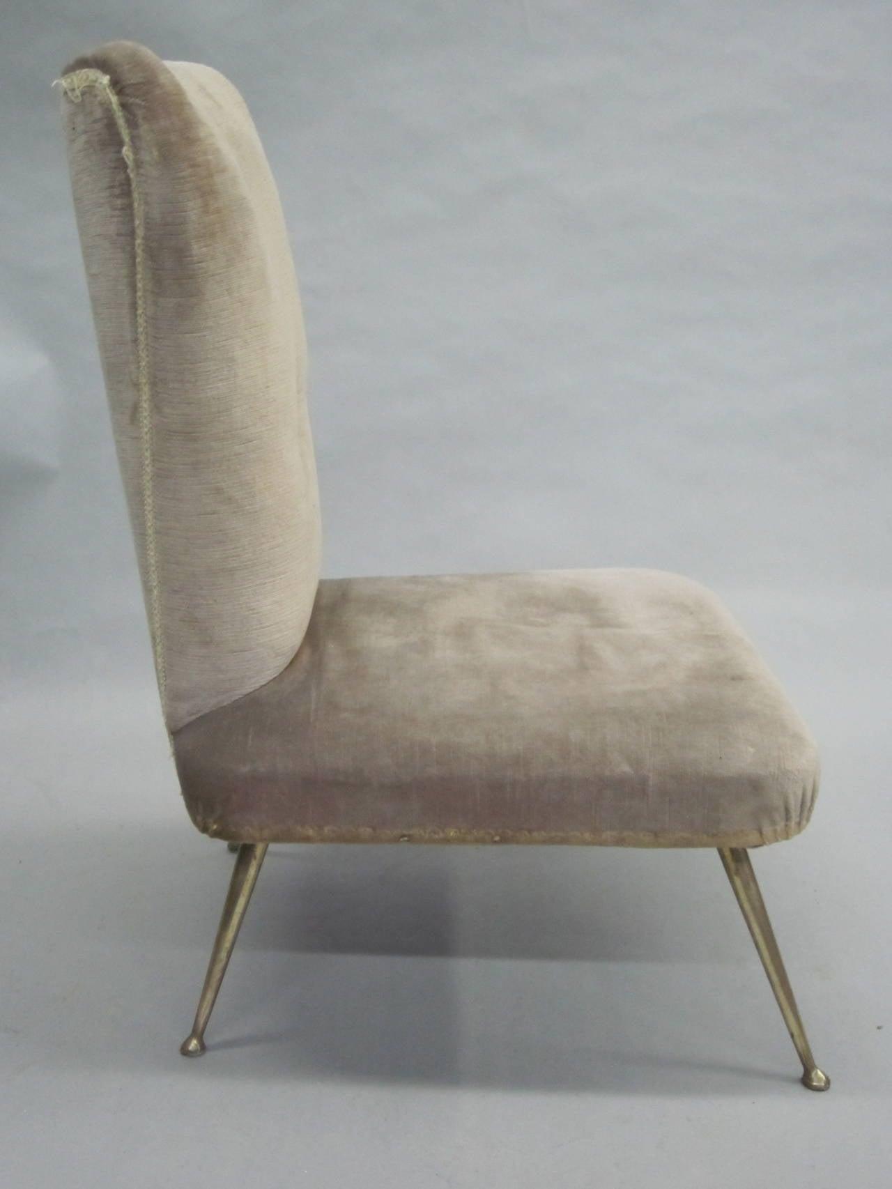 Pair of Italian Mid-Century Slipper Chairs Attributed to Marco Zanuso 3