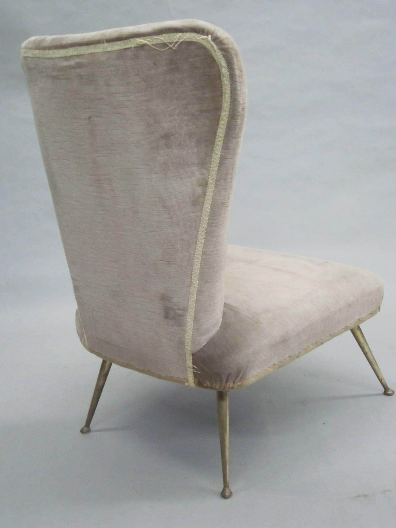 Pair of Italian Mid-Century Slipper Chairs Attributed to Marco Zanuso 4