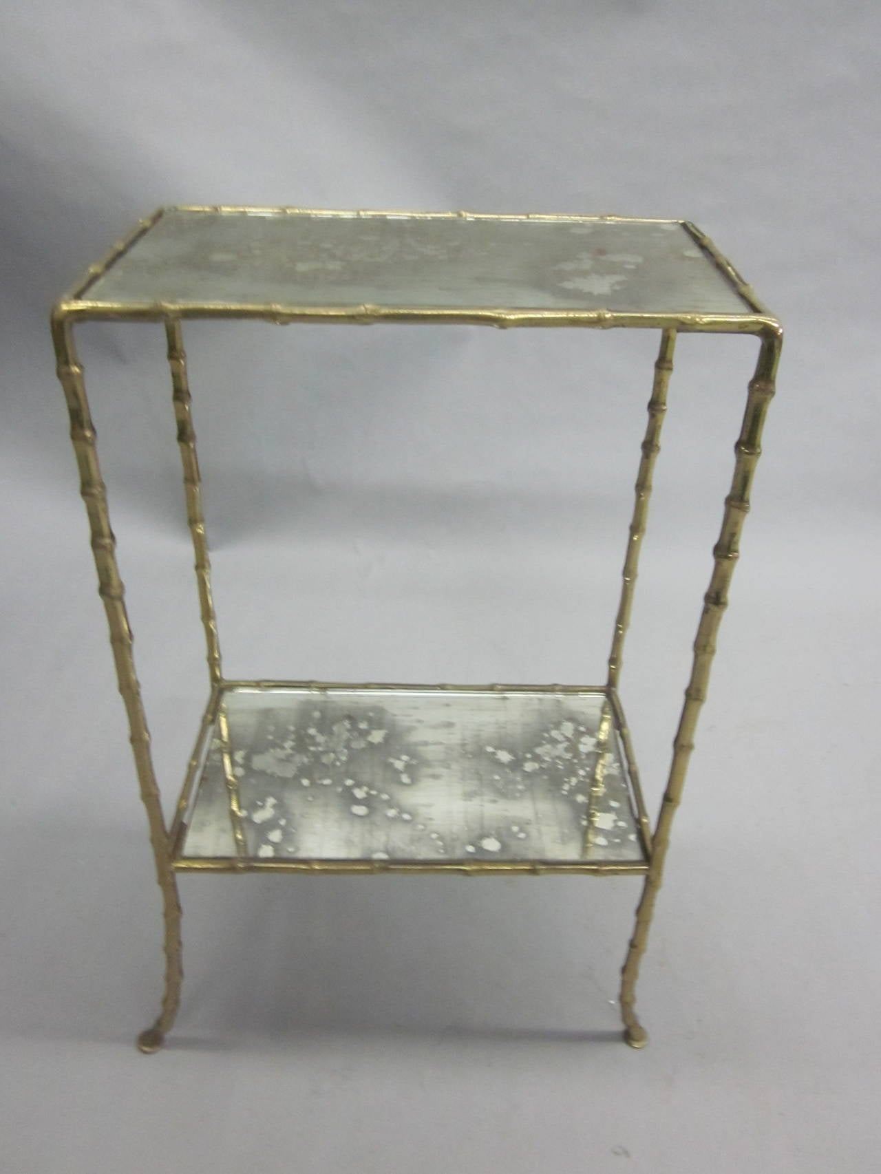Pair of Brass Faux Bamboo and Mirrored Side Tables by Maison Baguès, France 4