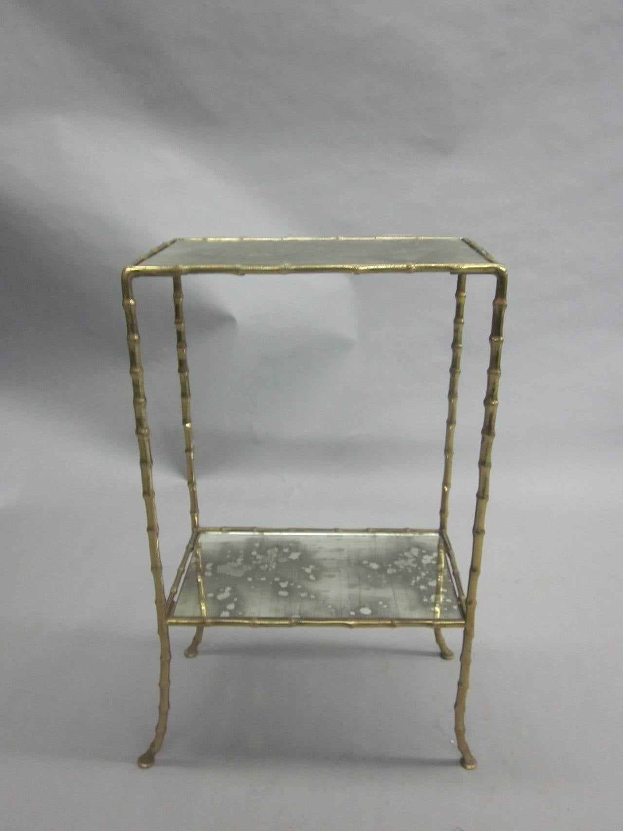 Pair of Brass Faux Bamboo and Mirrored Side Tables by Maison Baguès, France 5